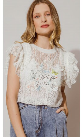 Blusa Renda Butterfly Lov.it Atacado